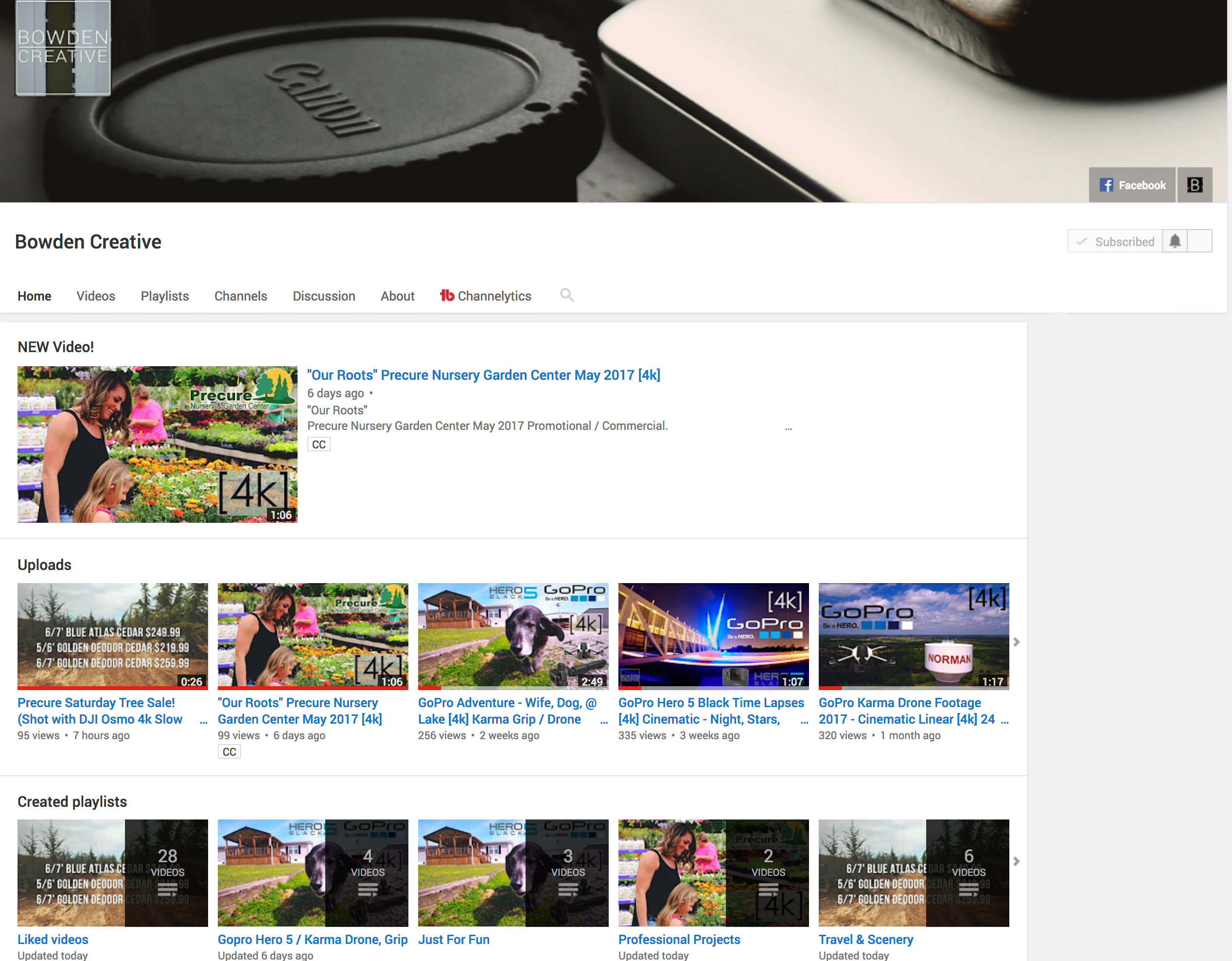 Bowden Creative Youtube Page subscribe